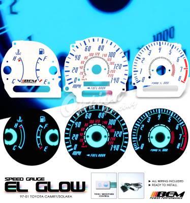 Car Interior - Gauges - OptionRacing - Toyota Camry Option Racing Indiglo Gauge Face Overlay Set - 58-44117