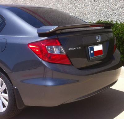 Spoilers - Custom Wing - DAR Spoilers - Honda Civic 4Dr DAR Spoilers OEM Look 3 Post Wing w/ Light ABS-753