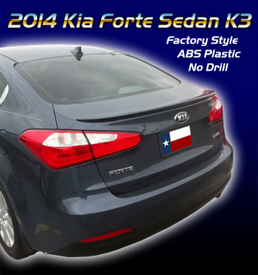 Spoilers - Custom Wing - DAR Spoilers - Kia Forte Sedan K3 DAR Spoilers OEM Look Flush Wing w/o Light ABS-773