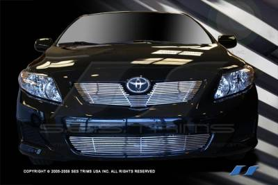 Grilles - Custom Fit Grilles - SES Trim - Toyota Corolla SES Trim Billet Grille - 304 Chrome Plated Stainless Steel - Top & Bottom - CG201A-B