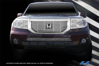 Grilles - Custom Fit Grilles - SES Trim - Honda Pilot SES Trim Billet Grille - 304 Chrome Plated Stainless Steel - Top & Bottom - CG204A-B
