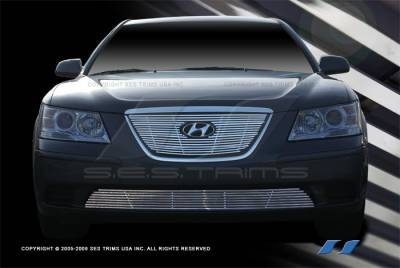Grilles - Custom Fit Grilles - SES Trim - Hyundai Sonata SES Trim Billet Grille - 304 Chrome Plated Stainless Steel - Top & Bottom - CG206A-B