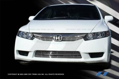 Grilles - Custom Fit Grilles - SES Trim - Honda Civic 2DR SES Trim Billet Grille - 304 Chrome Plated Stainless Steel - Top - CG208