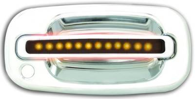 Suv Truck Accessories - Chrome Billet Door Handles - In Pro Carwear - Chevrolet Silverado IPCW LED Door Handle - Front - Chrome - Both Sides with Key Hole - 1 Pair - CLY99S18F