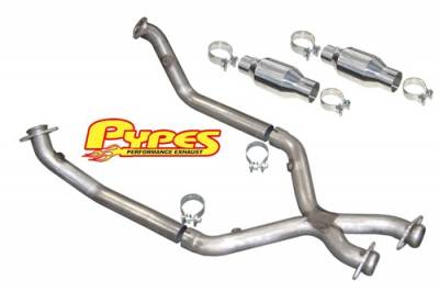 Exhaust - Exhaust Pipes - Pypes - Ford Mustang Pypes 409 Stainless Steel Catted X-pipe - 20039