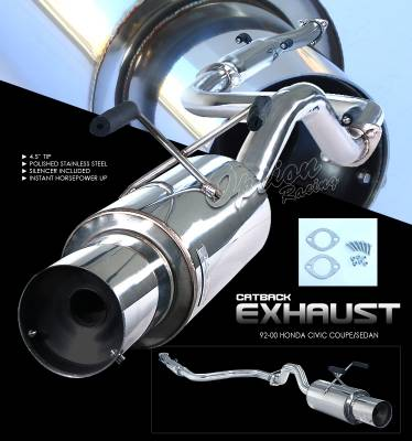 Exhaust - Custom Fit Exhaust - OptionRacing - Honda Civic Option Racing Cat-Back Exhaust - 41-20112