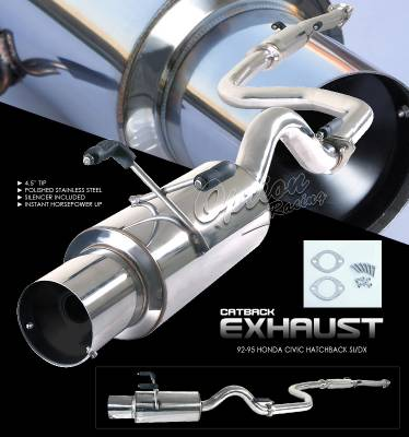 Exhaust - Custom Fit Exhaust - OptionRacing - Honda Civic Option Racing Cat-Back Exhaust - 41-20113