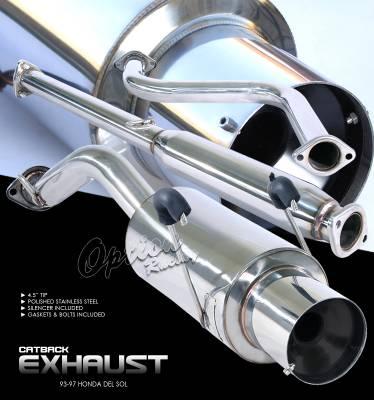 Exhaust - Custom Fit Exhaust - OptionRacing - Honda Del Sol Option Racing Cat-Back Exhaust - 41-20116