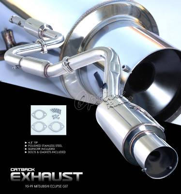 Exhaust - Custom Fit Exhaust - OptionRacing - Mitsubishi Eclipse Option Racing Cat-Back Exhaust - 41-35124