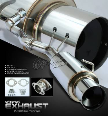 Exhaust - Custom Fit Exhaust - OptionRacing - Mitsubishi Eclipse Option Racing Cat-Back Exhaust System - 41-35152