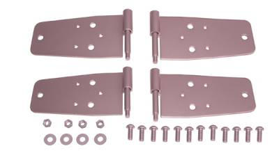 Factory OEM Auto Parts - Doors and Handles - Omix - Rugged Ridge Door Hinge Kit - For Use with Full Doors - 4 Piece - No Drilling - Stainless Steel - Front - 11185-2