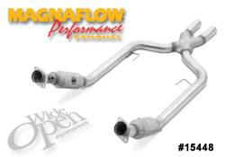Exhaust - Crossover Pipes - MagnaFlow - MagnaFlow Transition Front Tru-X Crossover Pipe with Catalytic Converter - 15448