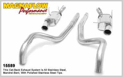 Exhaust - Custom Fit Exhaust - MagnaFlow - Ford Mustang Magnaflow Street Series Cat -Back Exhaust System - Split Dual - with Polished Tips - 3 Inch - 15589