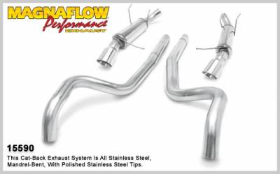 MagnaFlow - Ford Mustang Magnaflow Competition Series Cat -Back Exhaust System - Split Dual - Round Muffler with Polished Tips - 3 Inch - 15590
