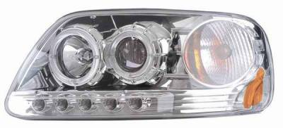 Headlights & Tail Lights - Headlights - Matrix - Clear Projector Headlights with Chrome Housing and Halo Ring - 1PC - 91149