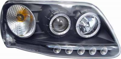 Headlights & Tail Lights - Headlights - Matrix - Clear Projector Headlights with Chrome Housing and Halo Ring - 1PC - 91153