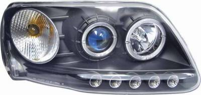 Headlights & Tail Lights - Headlights - Matrix - Blue Projector Headlights with Black Housing and Halo Ring - 1PC - 91155