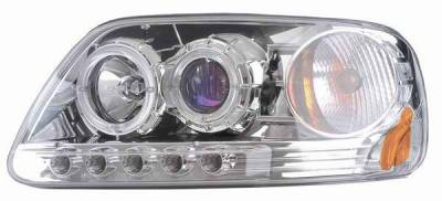 Headlights & Tail Lights - Headlights - Matrix - Blue Projector Headlights with Black Housing and Halo Ring - 1PC - 91156