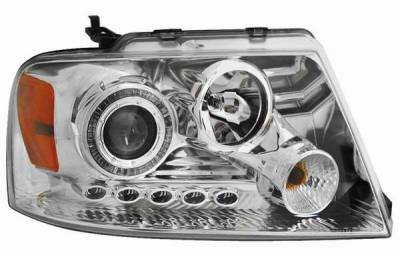 Headlights & Tail Lights - Headlights - Matrix - Clear Projector Headlights with Chrome Housing and Halo Ring - 91196