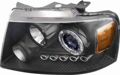 Headlights & Tail Lights - Headlights - Matrix - Blue Projector Headlights with Black Housing and Halo Ring - 91198