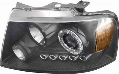 Headlights & Tail Lights - Headlights - Matrix - Clear Projector Headlights with Black Housing and Halo Ring - 91199