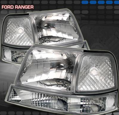 Headlights & Tail Lights - Headlights - Motor Blvd - Euro Chrome Clear Headlights With Corner