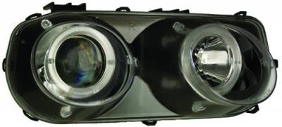 In Pro Carwear - Acura Integra IPCW Headlights - Projector with Rings - Black Housing & Clear Projector - 1 Pair - CWS-107B2