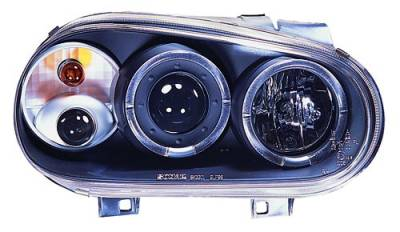 Headlights & Tail Lights - Headlights - In Pro Carwear - Volkswagen Golf IPCW Headlights - Projector with Rings & Foglights - 1 Pair - CWS-1502B2