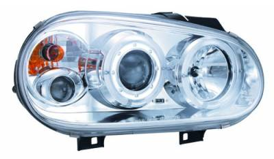 Headlights & Tail Lights - Headlights - In Pro Carwear - Volkswagen Golf IPCW Headlights - Projector with Rings & Foglights - 1 Pair - CWS-1502C2