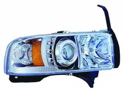 Headlights & Tail Lights - Headlights - In Pro Carwear - Dodge Ram IPCW Headlights - Projector with Rings with Amber Reflector - 1 Pair - CWS-401C2