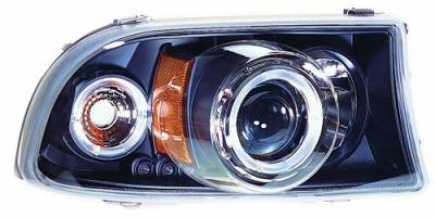 Headlights & Tail Lights - Headlights - In Pro Carwear - Dodge Dakota IPCW Headlights - Projector with Rings & Corners with Amber Reflector - 1 Pair - CWS-411B2