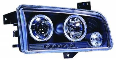 Headlights & Tail Lights - Headlights - In Pro Carwear - Dodge Charger IPCW Headlights - Projector with Rings - 1 Pair - CWS-416B2