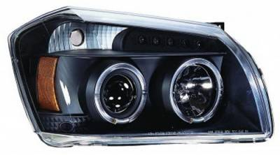 Headlights & Tail Lights - Headlights - In Pro Carwear - Dodge Magnum IPCW Headlights - Projector with Rings with Amber Reflector - 1 Pair - CWS-417B2