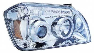 Headlights & Tail Lights - Headlights - In Pro Carwear - Dodge Magnum IPCW Headlights - Projector with Rings with Amber Reflector - 1 Pair - CWS-417C2