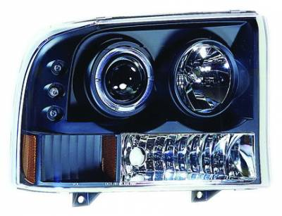 Headlights & Tail Lights - Headlights - In Pro Carwear - Ford Excursion IPCW Headlights - Projector with Rings & Corners with Amber Reflector - 1 Pair - CWS-500B2