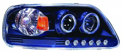 Headlights & Tail Lights - Headlights - In Pro Carwear - Ford F250 IPCW Headlights - Projector with Rings & Corners with Amber Reflector - 1 Pair - CWS-541B2