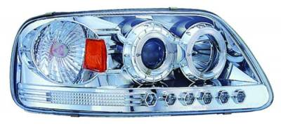 Headlights & Tail Lights - Headlights - In Pro Carwear - Ford F250 IPCW Headlights - Projector with Rings & Corners with Amber Reflector - 1 Pair - CWS-541C2