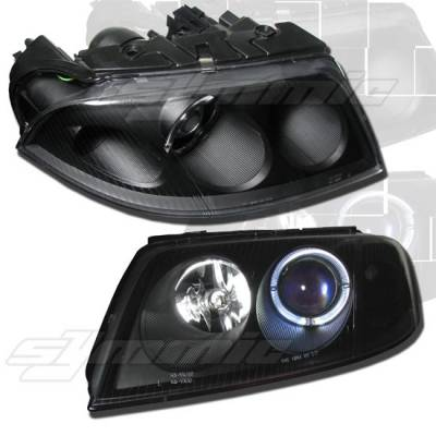 Headlights & Tail Lights - Headlights - MotorBlvd - 01-05 Passat Black or Chrome Halo