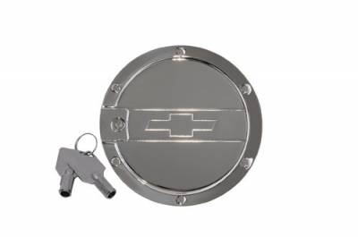 Accessories - Fuel Tank Covers - Defenderworx - Chevrolet Camaro Defenderworx SS Logo Locking Fuel Door - Chrome - CC1004