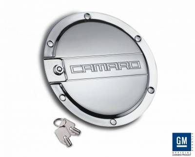 Accessories - Fuel Tank Covers - Defenderworx - Chevrolet Camaro Defenderworx Fuel Door - Chrome - CC1006