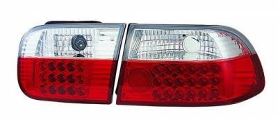 Headlights & Tail Lights - Led Tail Lights - In Pro Carwear - Honda Civic HB IPCW Taillights - LED - 1 Pair - LEDT-728R2