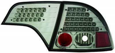 Headlights & Tail Lights - Led Tail Lights - In Pro Carwear - Honda Civic 4DR IPCW Taillights - LED without Red Cap - Smoke Lens - Chrome Housing - No Red Cap - 1 Pair - LEDT-745CS