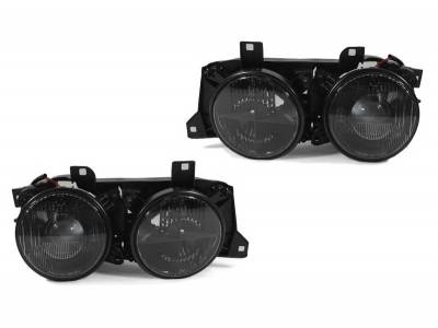 Headlights & Tail Lights - Headlights - DTM Fiberwerkz - BMW 3 Series DTM Fiberwerkz Smoked Cross Hair Euro Headlights - E30smokedhea