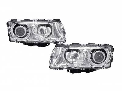 Headlights & Tail Lights - Headlights - EuroSpec - Chrome Dual Angel Eyes Euro Spec
