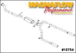 Exhaust - MagnaFlow - MagnaFlow - Magnaflow Cat-Back Exhaust System with Dual Split Rear Exit Pipes - 15754
