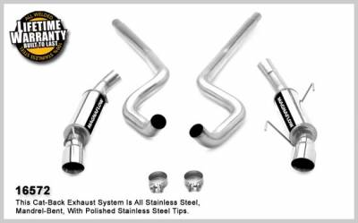 Exhaust - MagnaFlow - MagnaFlow - Ford Mustang Magnaflow Dual Split Rear Exit Stainless Steel Cat-Back Exhaust System - 16572