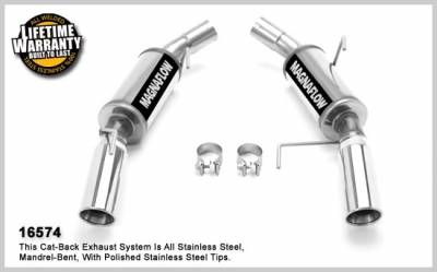 Exhaust - MagnaFlow - MagnaFlow - Ford Mustang Magnaflow Dual Split Rear Exit Stainless Steel Axle-Back Exhaust System - 16574