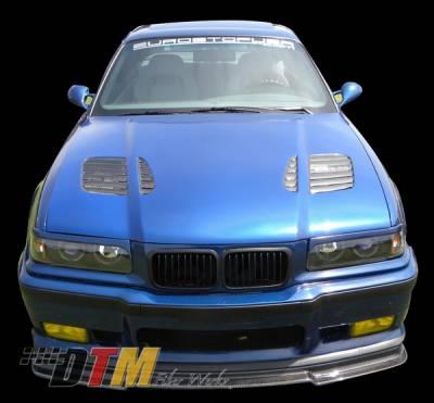 3 Series 2Dr - Hoods - DTM Fiberwerkz - BMW 3 Series 2DR DTM Fiberwerkz GTR Vented Style Hood - FRP - E36-GTR-VENT
