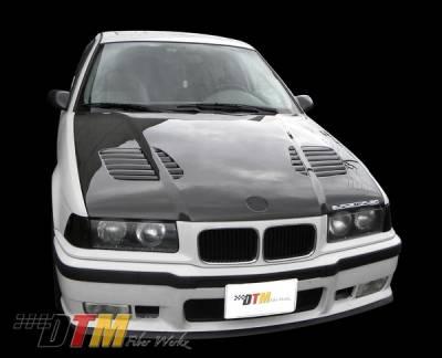 3 Series 4Dr - Hoods - DTM Fiberwerkz - BMW 3 Series 4DR DTM Fiberwerkz GTR Vented Style Hood - FRP - E36-GTR-VENT