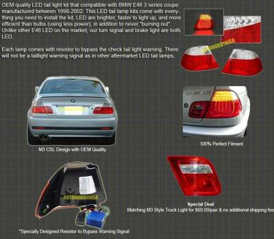 Headlights & Tail Lights - Led Tail Lights - EuroM - E46 2D LED Clear 00-03